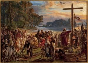 """MP 3894; Matejko, Jan (1838-1893) (malarz); Zaprowadzenie chrześcijaństwa R.P.965, z cyklu """"Dzieje Cywilizacji w Polsce""""; 1889; olej; deska dębowa; 79 x 120"""