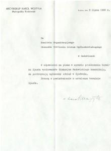 Pismo Arcybiskupa Karola Wojtyły do Komitetu Organizacyjnego