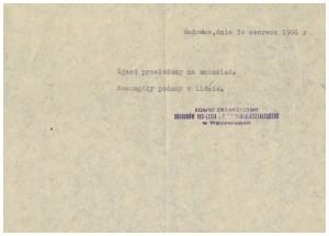 inf. o przełożeniu zjazdu z 30 czerwca 1966
